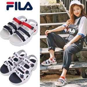 🆕FILA♦️DISRUPTOR RED/WHITE/BLUE PLATFORM SANDALS
